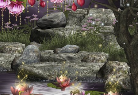 Glittering Lotus Pond Fantasy Abstract Background Wallpapers On Desktop Nexus Image 1366838