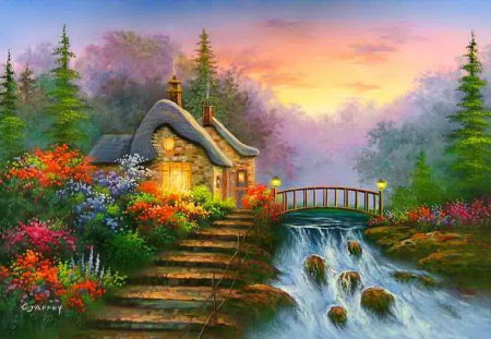 House Near Forest Stream Spring Beautiful Pretty Waterfall