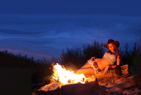 cowgirl camping models female people background