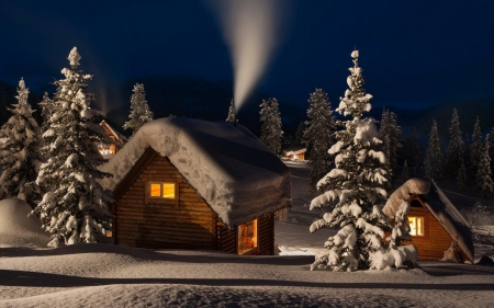 cozy winter cabins   3d and cg amp abstract background
