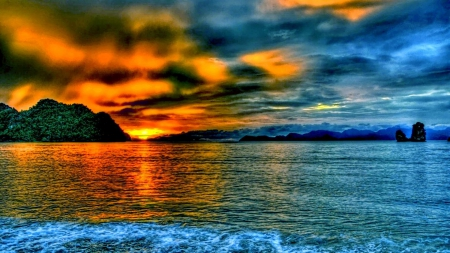 magnificent mountain sunset hdr - photo #7