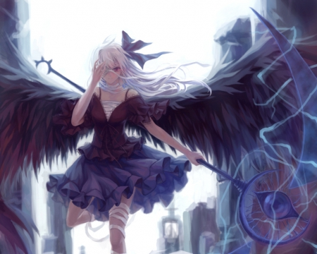 Anime girl with black hair and wings