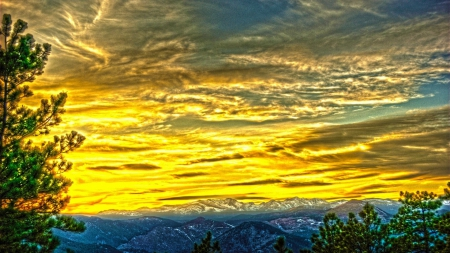 magnificent mountain sunset hdr - photo #2