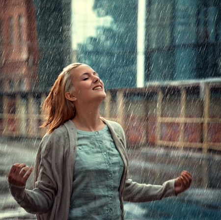 happy rainy day models female amp people background