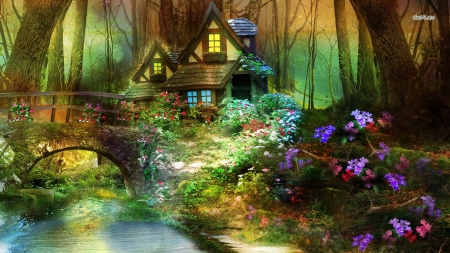 Flower gardens wallpaper - Beautiful Hut In A Fantasy Forest Flowers Amp Nature