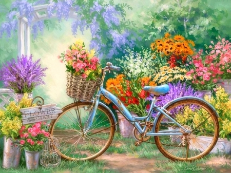 bicycles with flowers wallpaper - photo #18