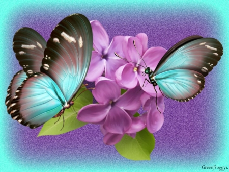 Blue butterflies on lilacs 3d and cg abstract for Lilac butterfly wallpaper