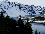 Snowy Crater Lake Mountains in Oregon