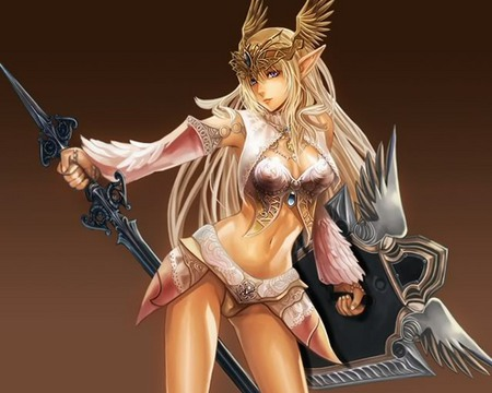 Sexy Elf Warrior - hot, anime, shield, sword, cute, sexy, fantasy, blade, girl, weapon, anime girl