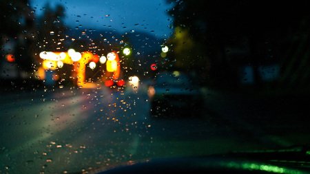 Lonely In Rain - photography, street, car, abstract, beautiful, drops, lights, night, window, rain