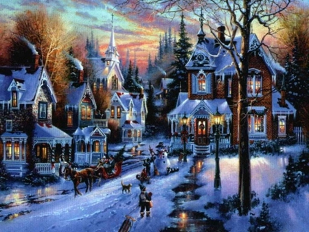 old fashioned christmas town wallpaper - photo #18