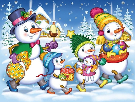 snowman family wallpaper - photo #5
