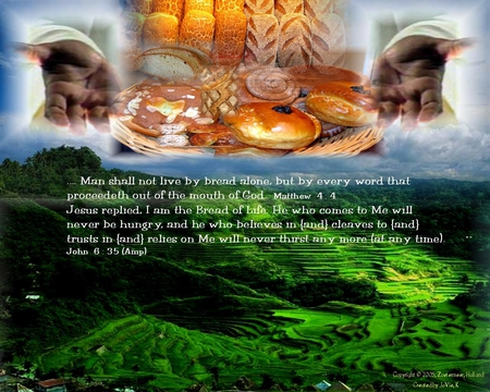 """man shall not live by bread alone Drew it out, like a sword from its scabbard: """"it is written, man shall not live by bread alone, but by every word that proceeds out of the mouth of god."""