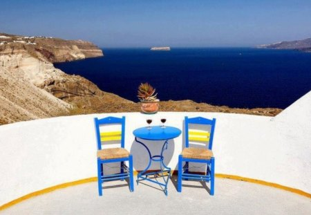 Welcome and enjoy! - wine, chairs, view, greece, vacation, photo, greek, picture, holiday, day, summer, table, island, enjoy, image, sunshine, ship, pic, sea, glasses, sun, welcome
