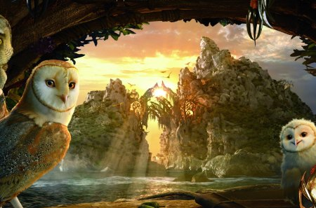 Owls - cave, landscape, image, abstract, owls, sunrays, fantasy