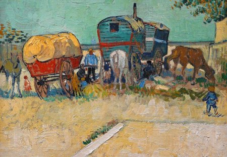 Vincent Van Gogh ~ The Caravans Gipsy Camp near Arles - the caravans gipsy camp near arles, artist, summer, horse, abstract, painting, art, impressionist, vincent van gogh
