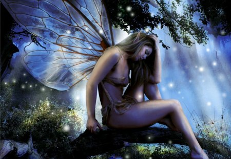 Moonlight Fairy - fantastic, amazing, goddess, abstract, pretty, night, girl, nice, fairy, awesome, forest, picture, fantasy, trees, gorgeous, cute, super, light, wallpaper, charming, skyphoenixx1, sweet, wings, beautiful, great, adorable, tree, woman, moonlight, woods, outstanding, rays, moonlight fairy, marvellous, lights, wonderful, stunning, fireflies, enchanting, moon, bushes