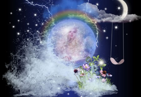 CHILDHOOD DREAMS - fantasy, rainbow, moon, magic, blue, misty, stars, dream, magical, angel