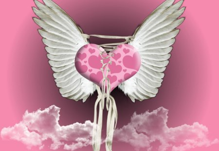 LOVE AND A PRAYER - wings, clouds, pink, love, heart