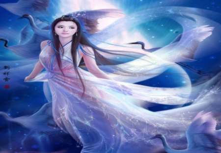 Flying on Moon - cool, cloud, ribbon, sexy, original, night, female, smile, egret, text, fantasy, white dress, flying on moon, sky, long hair, chinese girl, full moon, moon, hot, black hair