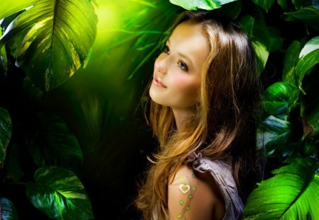Forest fairy - green, enchanted, magic, magical, leaves, girl, lonely, lady, woman, smile, fairy, forest, fantasy