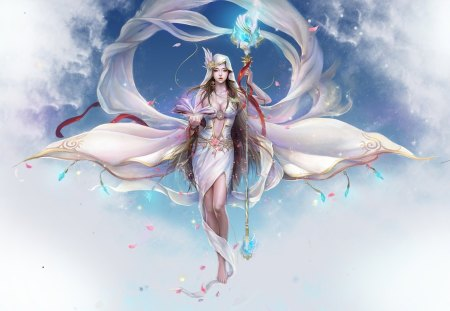 Magic White Queen - queen, magic, white, cg