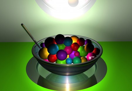 Rainbow cereal - green, rainbows, treats, cereals, 3d, lights, spheres, spoons