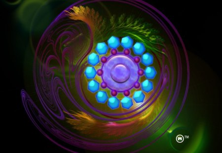magical fractal gem 3d and cg abstract background