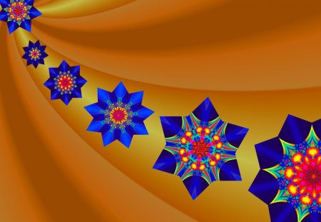 Here Come the Stars- My Desktop Nexus Friends... :D - multicolored, co11ie, fractal patterns, blue, kaleidoscopes too1, stars, kaleidoscope, red, gold, golden yellow