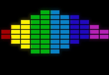 Coloured Equalizer - music, glow, colour, equalizer, black, neon