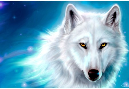 Yellow eyes - portrait, drawing, wolf, white