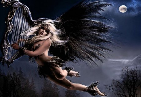MUSIC ANGEL - music, angel, aerosmith, moon