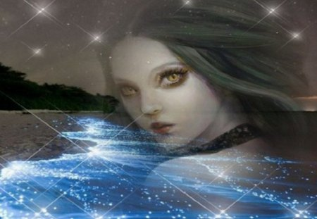 sea lady - fantasy, abstract, art, woman