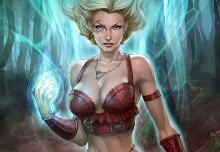 Salem's Daughter - power, sexy, magic, girl, stunning, breast, tattoo, hot, soul, fantasy, blonde, cg
