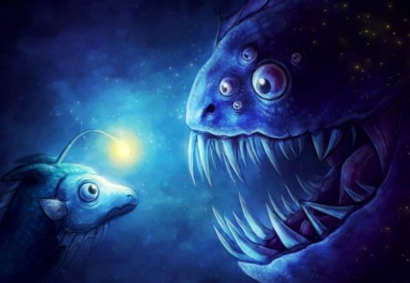 fish from the depths - light, animals, fish, depths, artwork, blue