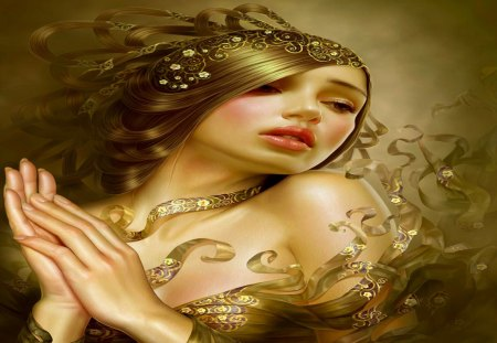 Sweet Innocence - girl, gold, fantasy, beauty