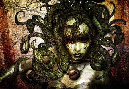 Medusa - girl, green, fantasy, snakes