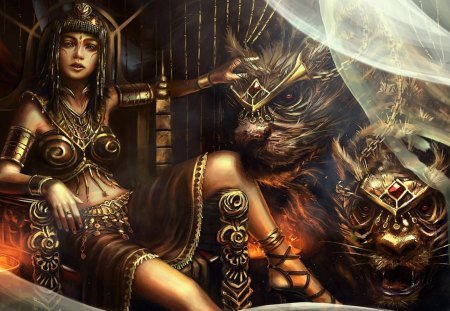 Queen Teefah And The Two-Headed Beast - throne, wild, hd, tattoo, carnivore, bryan sola, cg, queen teefah, girl, ancient, queen, cat, teefah, jewelry, fantasy, digital art, beauty, beast, pretty, curtain, monster