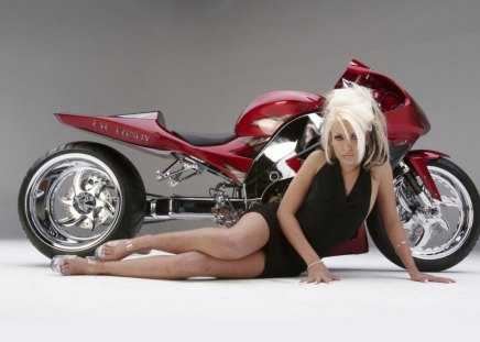 Eye Candy - girl, bike, red, tuned