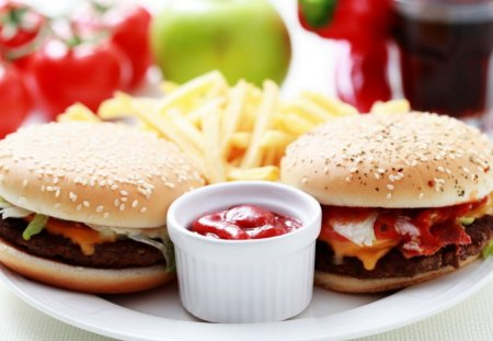 Burger-French Fries - burger, fries, french, food