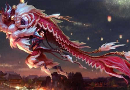Chinese Tradition - girl, tradition, chinese, dragon, cg