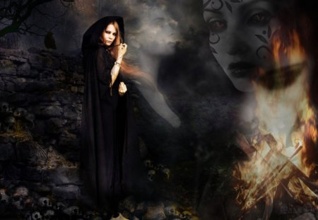 βℓαcκ Ѧαɢιc - daxe designs, summoning, smoke, dark, witch, woman, black magic, photoshop, conjuring, conjure, spirits, fire, spell, fantasy