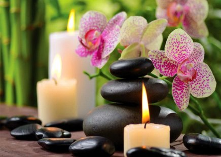 Spa beauty - stones, fire, still life, orchid, nice, beauty, relax, lovely, beautiful, flowers, content, pretty, candles, bamboo, spa, concept