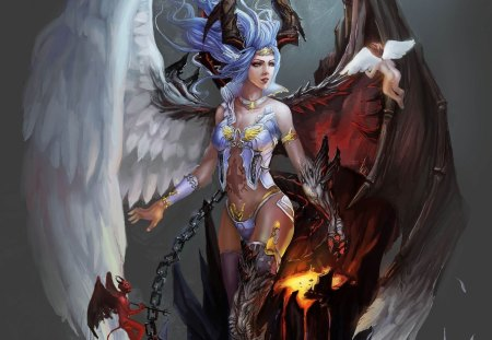 The level between heaven and hell - girl, beautiful, angel, heaven hell, colors, queen, lovely, beauty