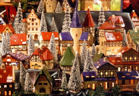 Toy village - house, tree, toy, village