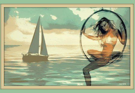 She hangs in the air and the sea - beautiful, bikini, painting, art, girl, woman, dream, sea, fantasy, ocean