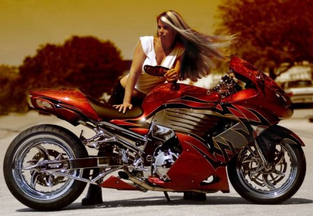 Bike Babe - bike, tuned, babe, red, sexy