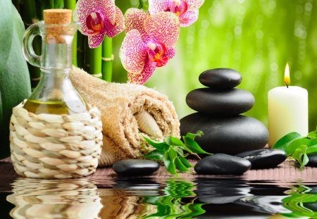 Spa treatment - petals, nice, treatment, lovely, candle, grass, bamboo, spa, leaves, greenery, stones, orchid, bottle, basket, beautiful, flowers, green, pretty, towel, reflection