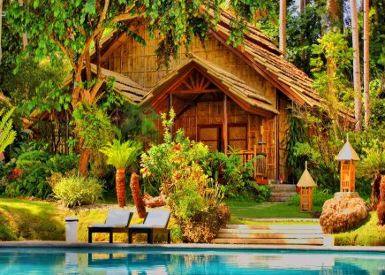 Pool house - tropical, beautiful, blue, exotic, cottage, water, palms, house, holiday, summer, rest, pool, tropics, branches, palm trees, cabin, nature