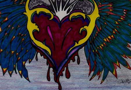 Heartwings - abstract, drawing, heart, colorful